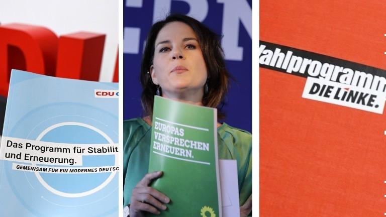 Die Wahlprogramme von CDU/CSU, Grünen und Linke