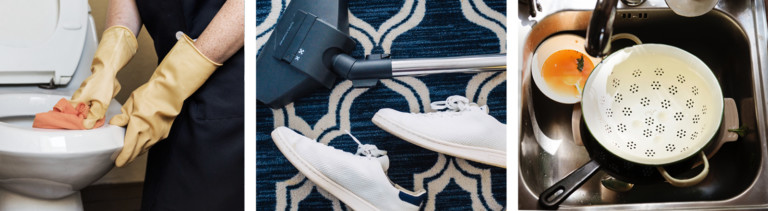 Drei Bilder vom Aufräumen: Klo putzen, Staubsaugen, Abspülen