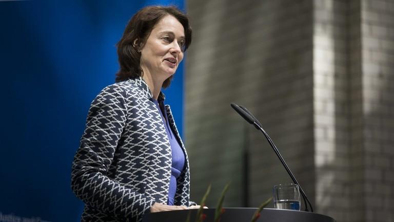 Katharina Barley spricht im Rahmen der Amtsuebergabe im Bundesministerium fuer Justiz und Verbraucherschutz in Berlin, 27.06.2019.