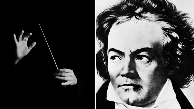 Ludwig van Beethoven und ein Dirigentenstab