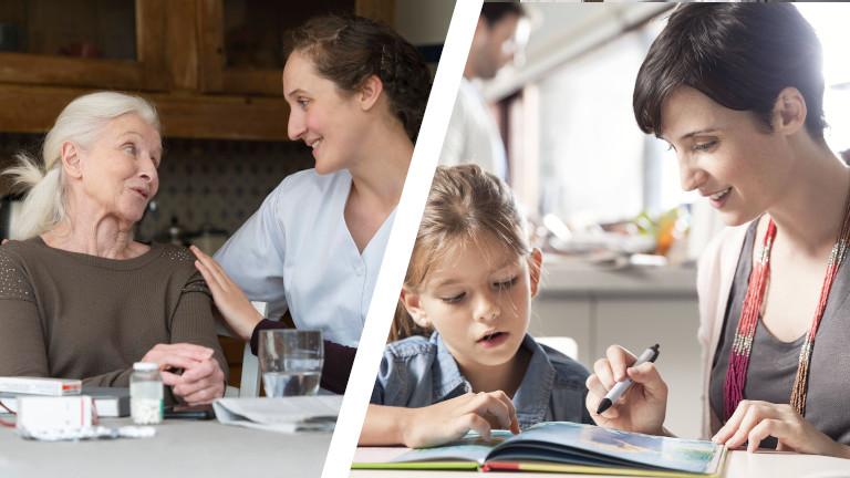 Collage aus Altenpflegerin mit Rentnerin und Mutter mit Kind bei Hausaufgaben
