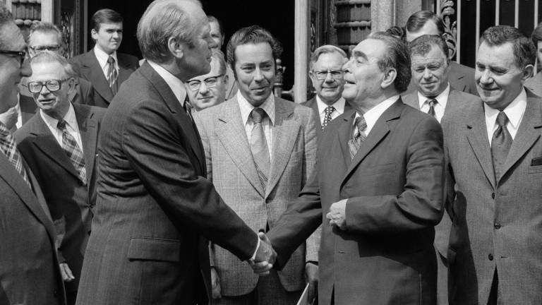US President Gerald Ford (left), Soviet president Leonid Brezhnev and Soviet prime minister Andrei Gromyko (right) pictured in front of the Soviet embassy in Helsinki during the CSCE 1975 conference in August 1975.