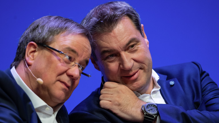 NRW-Ministerpräsident Armin Laschet und Markus Söder, Ministerpräsident von Bayern, 2019 vor Europawahlkampf