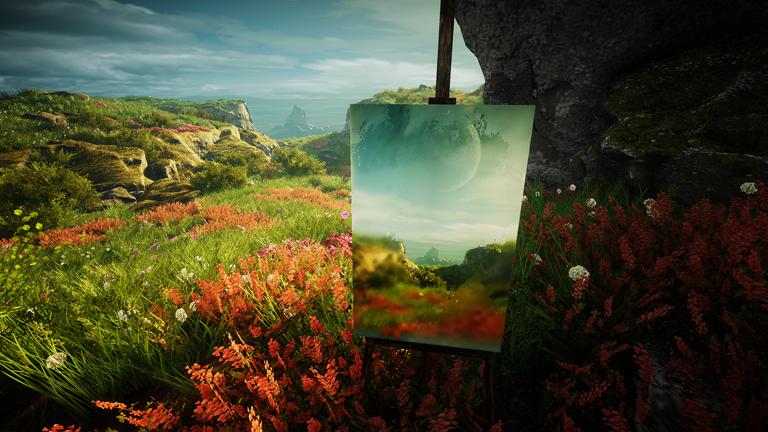 """Eine Staffelei vor einer Landschaft (Screenshot aus dem Game """"Eastshade"""")"""