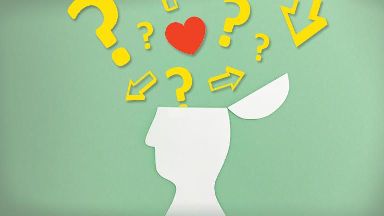 Symbolbild für Entscheiden mit Herz - Fragezeichen, Pfeile in verschiedene Richtungen und Herz schweben über einem Kopf
