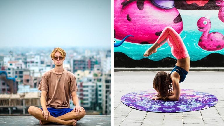 Mann beim Meditieren auf einem Dach. Eine Frau macht Yoga.