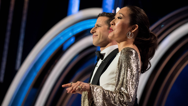 Andy Samberg and Sandra Oh moderieren die 76. Golden Globes im Beverly Hilton in Beverly Hills (06.01.2019)
