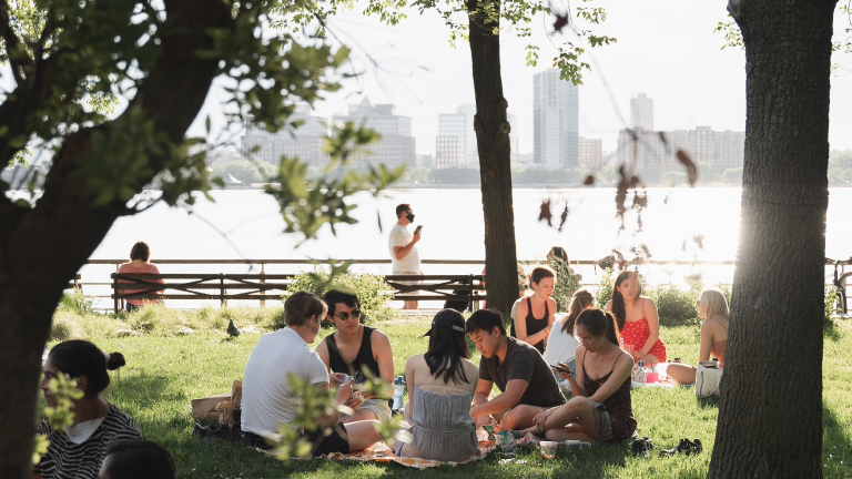 Gruppe von Menschen im Park im Sonnenlicht