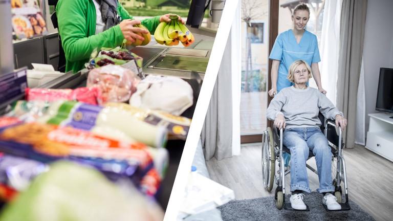 Collage aus einer Supermarktkasse und Pflegefachkraft mit älterer Frau im Rollstuhl