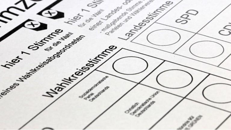 Ein leerer Stimmzettel für die Bundestagswahl