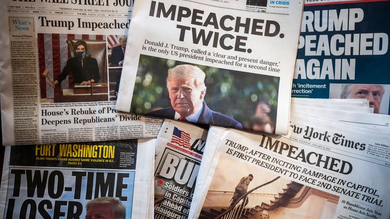 Zeitungen titeln zum zweiten Impeachment-Verfahren gegen Trump