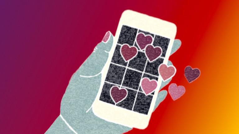 Illustration eines Smartphones mit verschiedenen Herzen