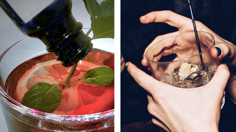 Collage: Eine Frau hält einen Drink in der Hand / Tropfen werden in einen Cocktail geschüttet