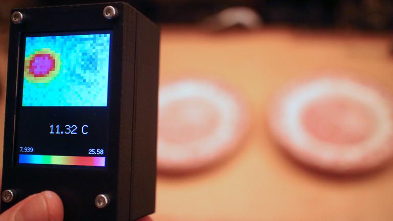 Selbstgebaute Wärmebildkamera beim Test