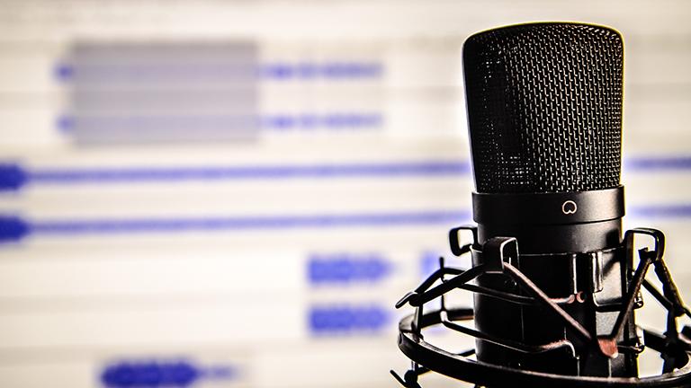 Ein Mikrofon, dahinter ein Computerbildschirm mit geöffnetem Audioschnittprogramm
