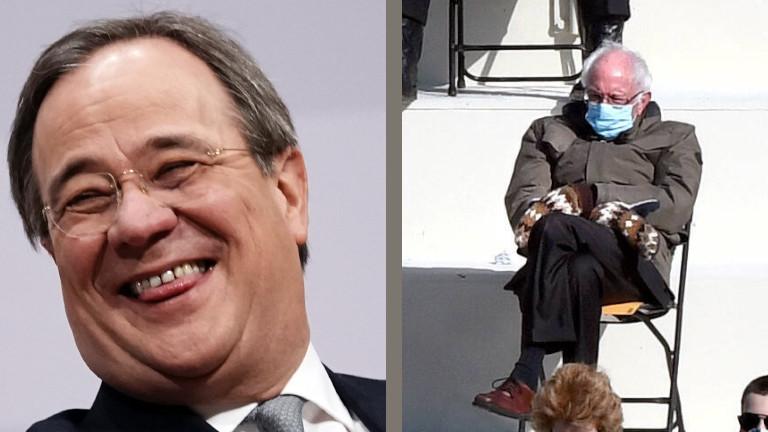 Collage aus zwei Bildern: Links sieht man den lachenden CDU-Politiker Armin Laschet. Rechts sieht man das berühmte Bild von Bernie Sanders bei der Amtseinführung von Joe Biden, unbeeindruckt auf einem Klappstuhl sitzend