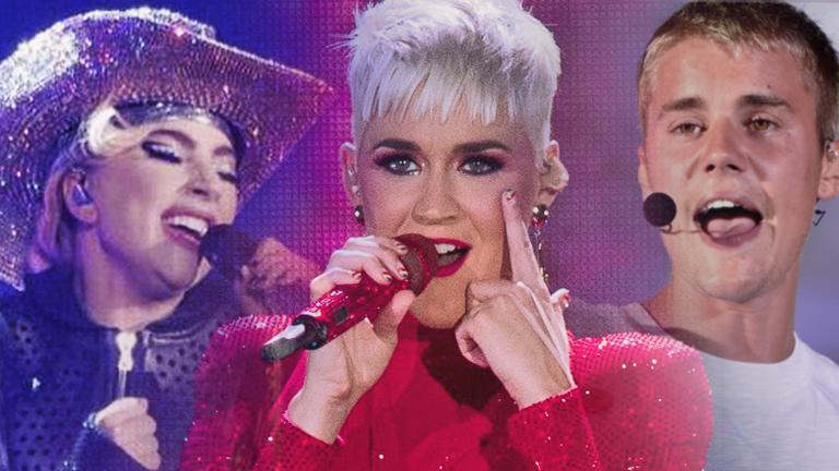 Bühnenportraits von Lady Gaga, Katy Perry und Justin Bieber in einer Collage