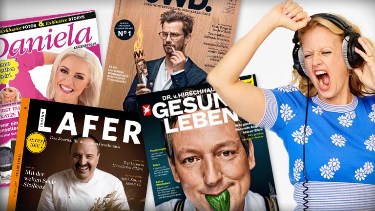Cover von Prominenten-Magazinen und Portrait von Barbara Schöneberger