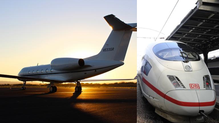 Links ist ein Flugzeug im Abendlicht und rechts die Front eines ICE-Zuges