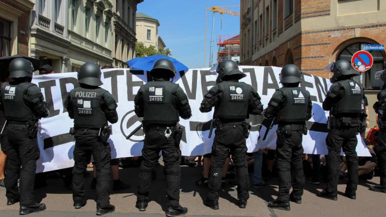 20.07.2019 Blockade durch die Polizei bei Protest gegen die Identitäre Bewegung in Halle