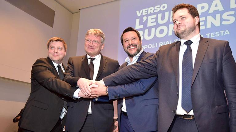 Von links nach rechts: Olli Kotro (Die Finnen), Jörg Meuthen (AfD), Matteo Salvini (Lega Nord), Anders Vistisen (Dansk Folkeparti) und bei einem Treffen rechtspopulistischer Parteien im Vorfeld der Europawahlen in Mailand am 8.4.2019