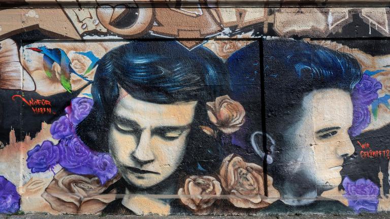Graffiti von den Geschwistern Scholl am Schlachthofgelände München