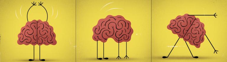 Symbolbild: Ein Gehirn macht Fitness-Übungen