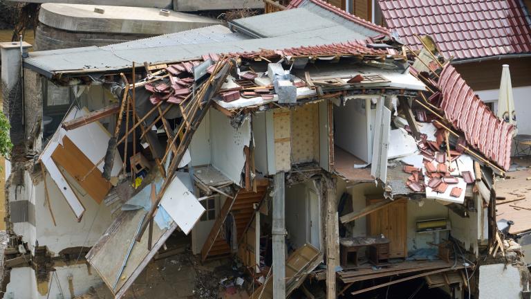 Zerstörtes Haus in Waldpforzheim, Rheinland-Pfalz am 17.7.2021