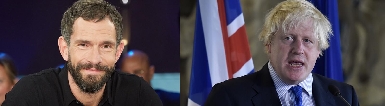 TV-Moderator Mickey Beisenherz und der britische Außenminister Boris Johnson