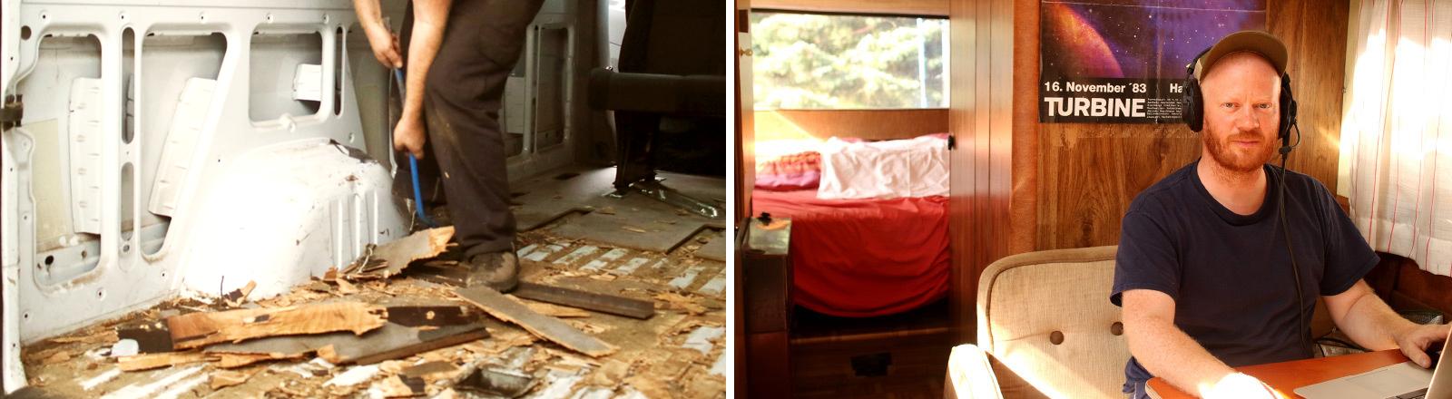 Selbstausbau eines Campers und Portrait von Moritz Metz im Wohnmobil