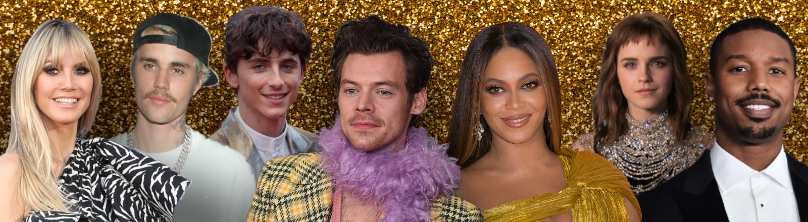 Eine Collage mit mehreren Promis: Das Model Heidi Klum, der Sänger Justin Bieber, Der Schauspieler Timothee Chalamet, Sänger Harry Styles, Sängerin Beyonce, Schauspielerin Emma Watson und Schauspieler Michael B. Jordan