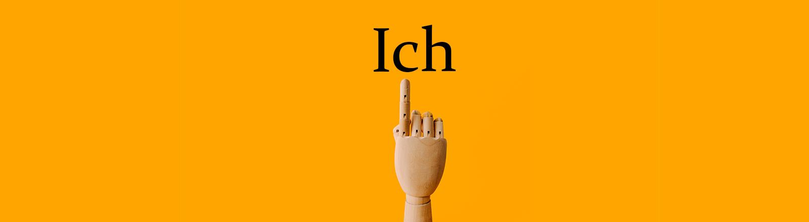 """Holzhand Zeigefinger Schrift """"Ich"""""""