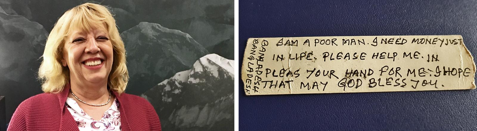 Portrait von Claudia Kütsch und ein handgeschriebener Zettel, der in einem Herrenhemd versteckt war, mit der Botschaft, dem Absender bitte zu helfen