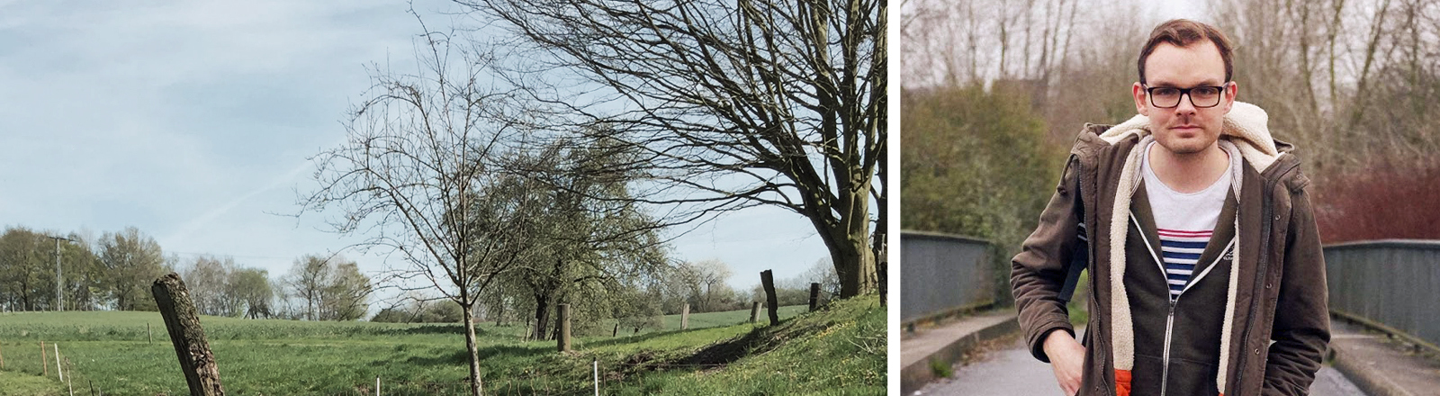 Landschaftsbild neben Portrait von Tim Hartmann