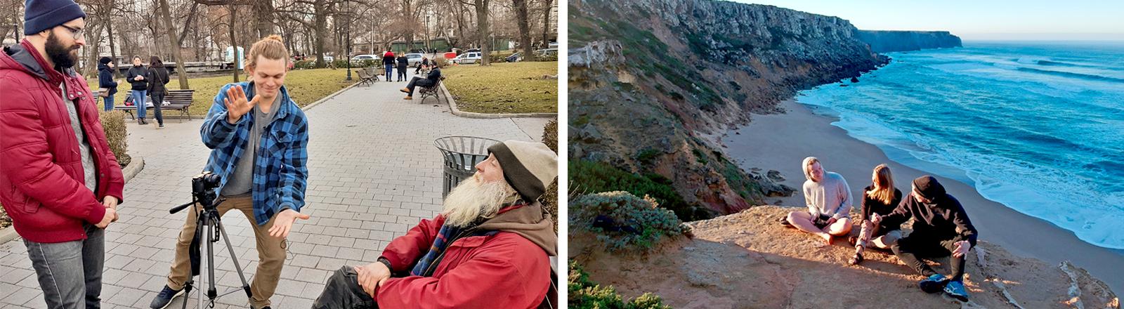 """Ein Spontan-Interview auf der Straße in Sofia / Das """"Driving Europe""""-Team auf einer Klippe in Portugak"""