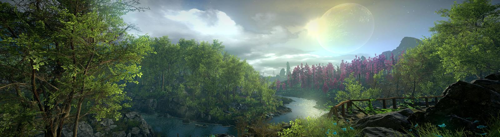 """Screenshot einer Landschaft im Game """"Eastshade"""""""