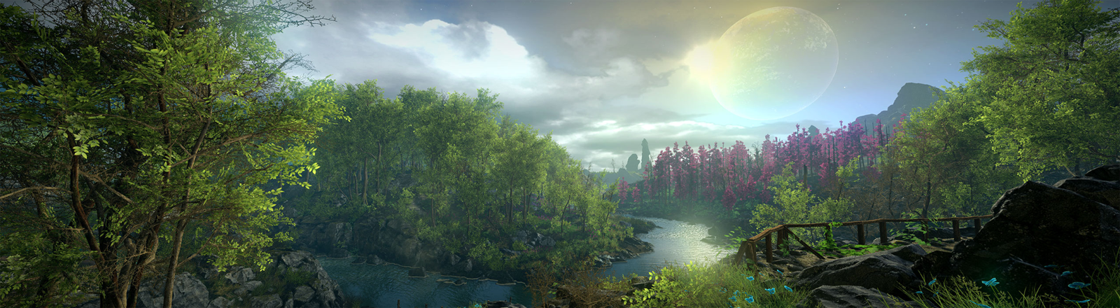 "Screenshot einer Landschaft im Game ""Eastshade"""