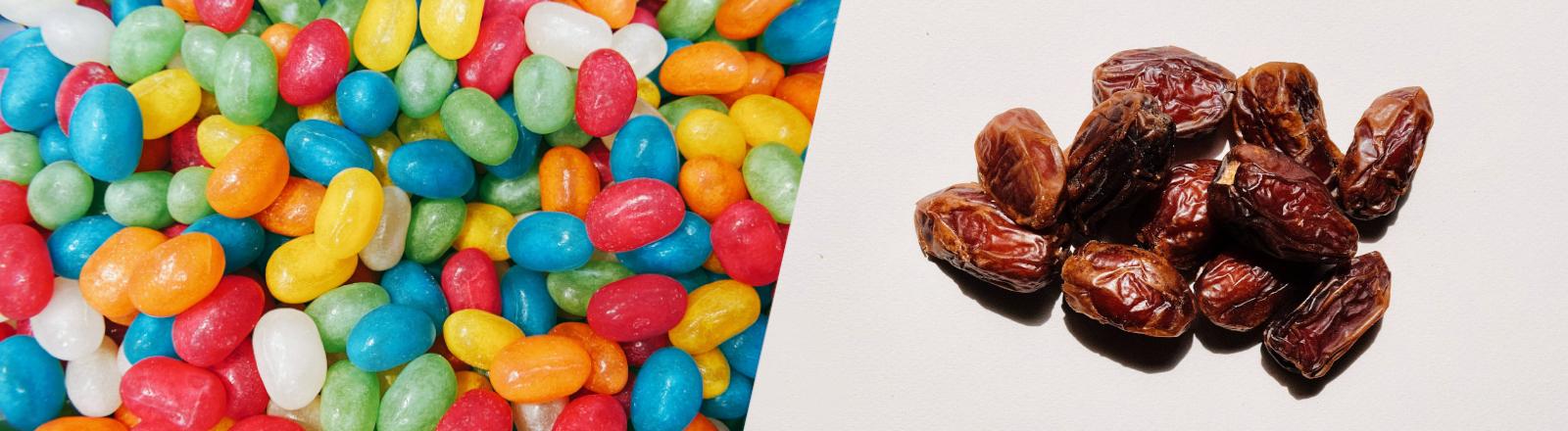Collage aus Süßigkeiten und Datteln im Kontext von Fastenzeit