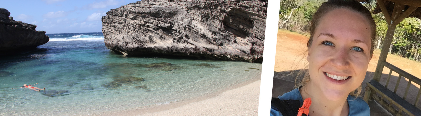 Fiona Kau schwimmt auf dem Rücken im Meer am Strand von Mauritius und Fiona beim Traillaufen