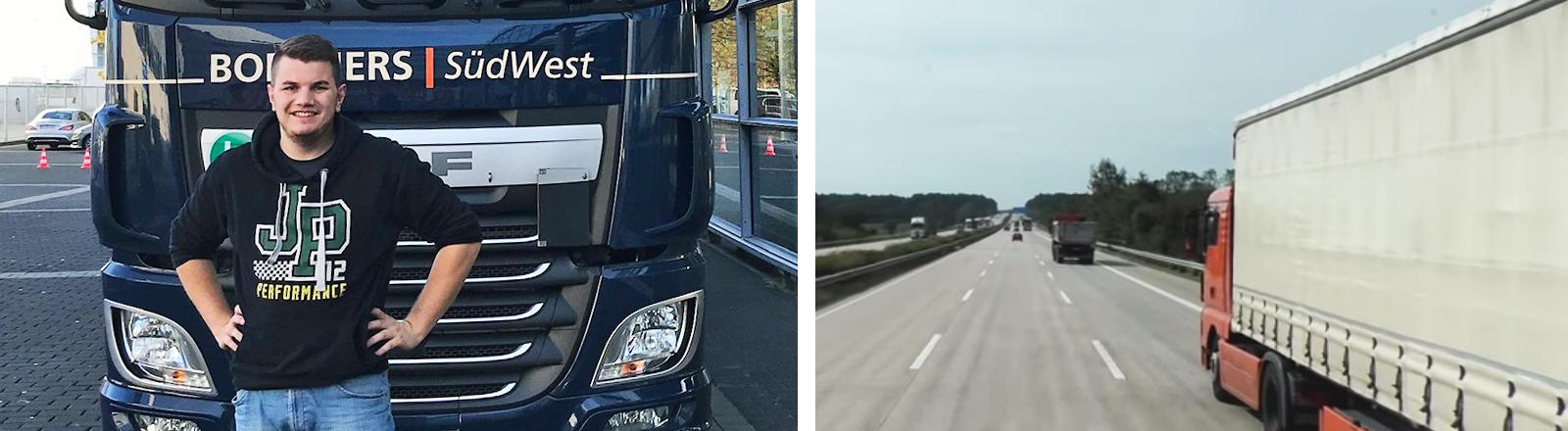 Collage: Frederik Munz im Führerhaus eines LKWs und Blick auf eine Autobahn