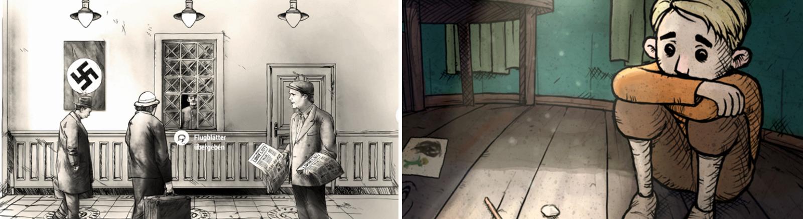 """Screenshots der Computerspiele """"Attentat 1942"""" und """"My Child Lebensborn"""""""