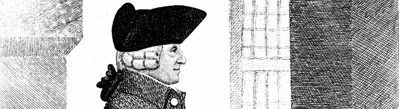 Eine Radierung von Adam Smith im Profil