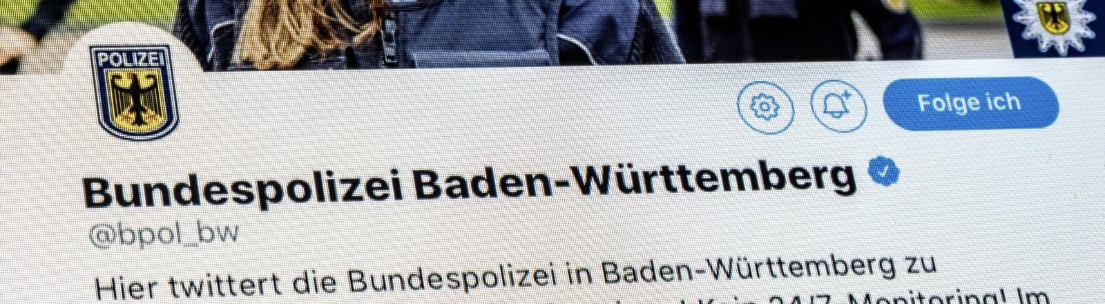 Ein Bild des Twitter Accounts der Polizei von Baden-Württemberg