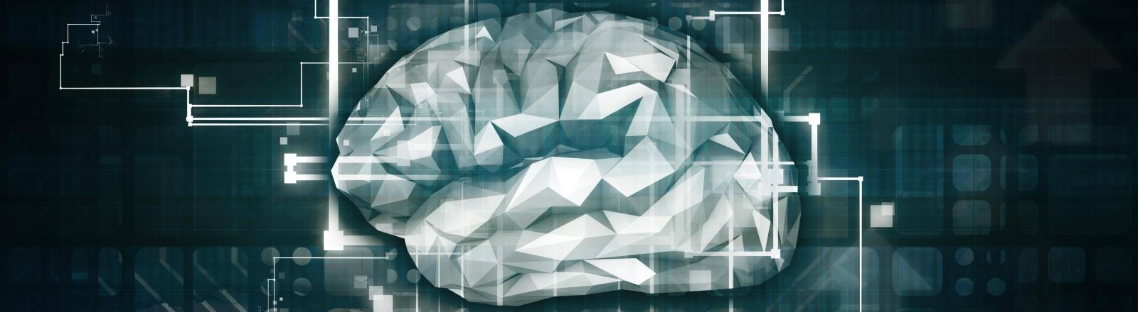Eine Zeichnung eines Gehirns, das mit Technik verkabelt ist