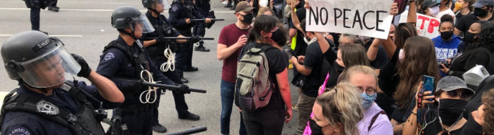 Die Polizei steht in einer Linie vor vielen Demonstrierenden