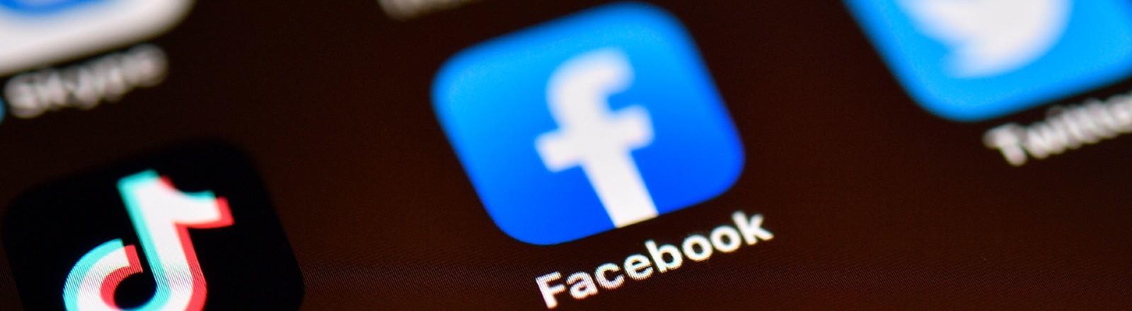 Icon der Facebook-App auf einem Ipad oder Smartphone