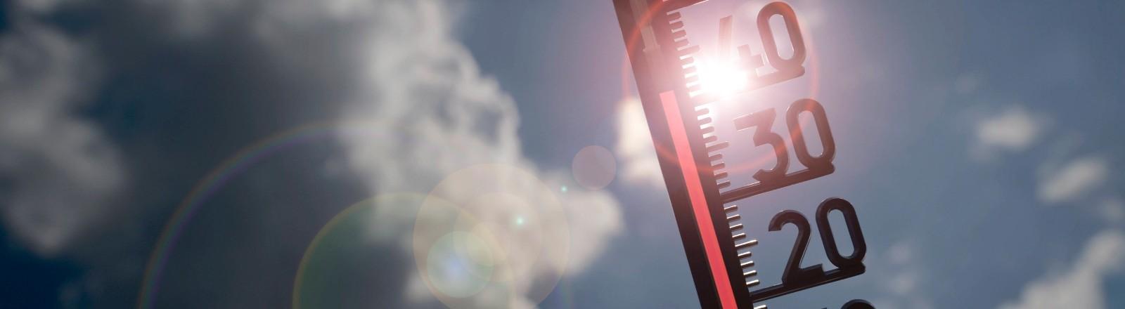 Ein Thermometer zeigt in den sonnigen Himmel