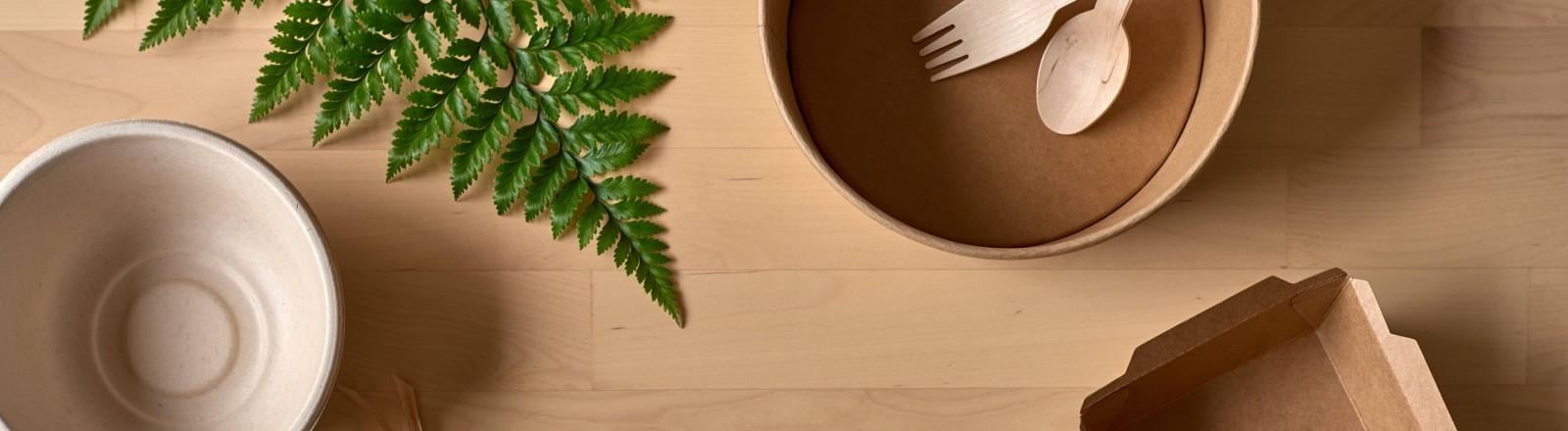 Einweggeschirr auch nachhaltigen Materialien