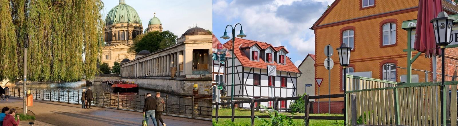 Eine Bildcollage aus einem Bild von der Spree in Berlin und einem Ort in Brandenburg