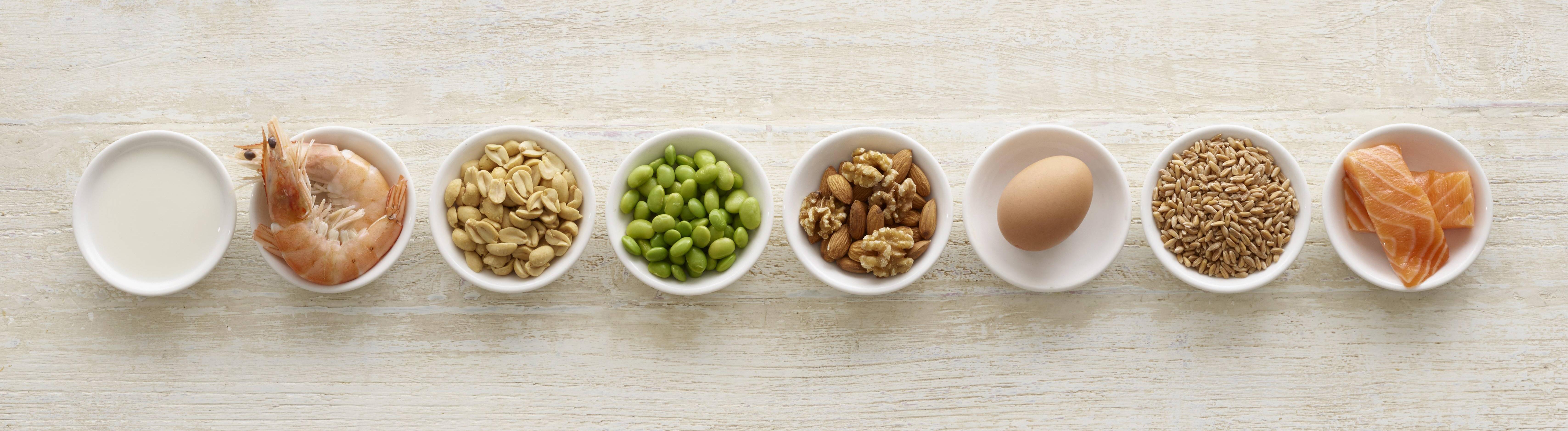 Lebensmittel auf die manche Menschen allergisch reagieren: Eier, Garnelen, Pistazien, Mandeln, Walnüsse, Lachs, Getreidekörner und Erdnüsse.